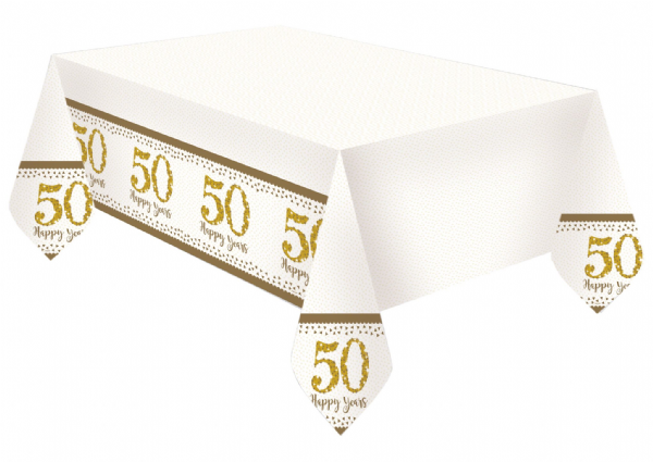 Sparkling Golden Anniversary Tablecover